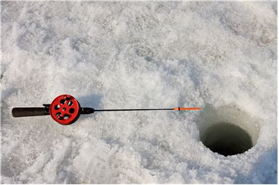 Picture Of Fishing Rod At Ice Hole